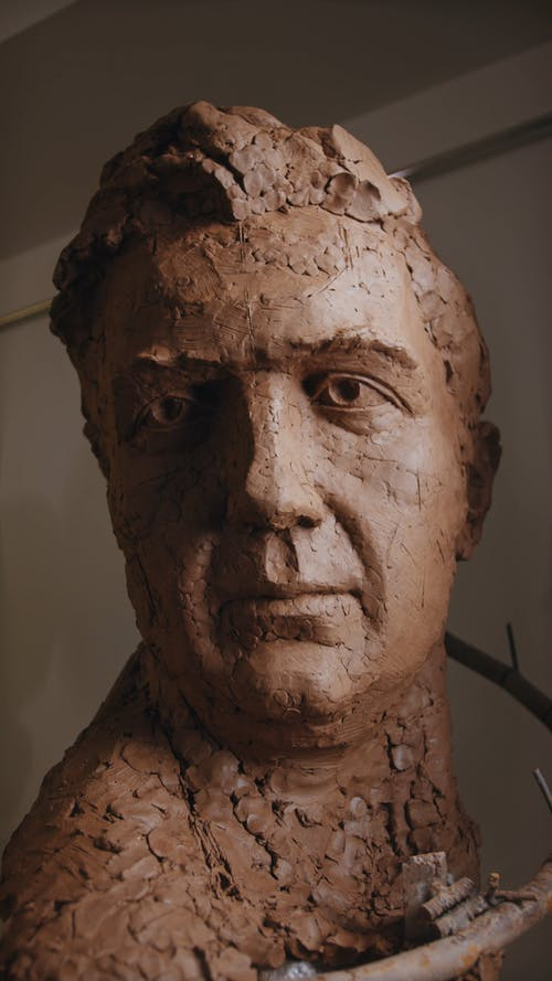 Clay Sculpture of Man's Head