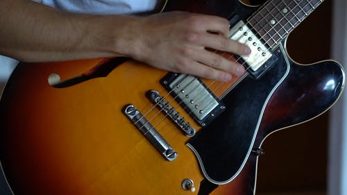 Close up of Person Playing Guitar