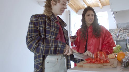 Woman Slicing Bell Pepper