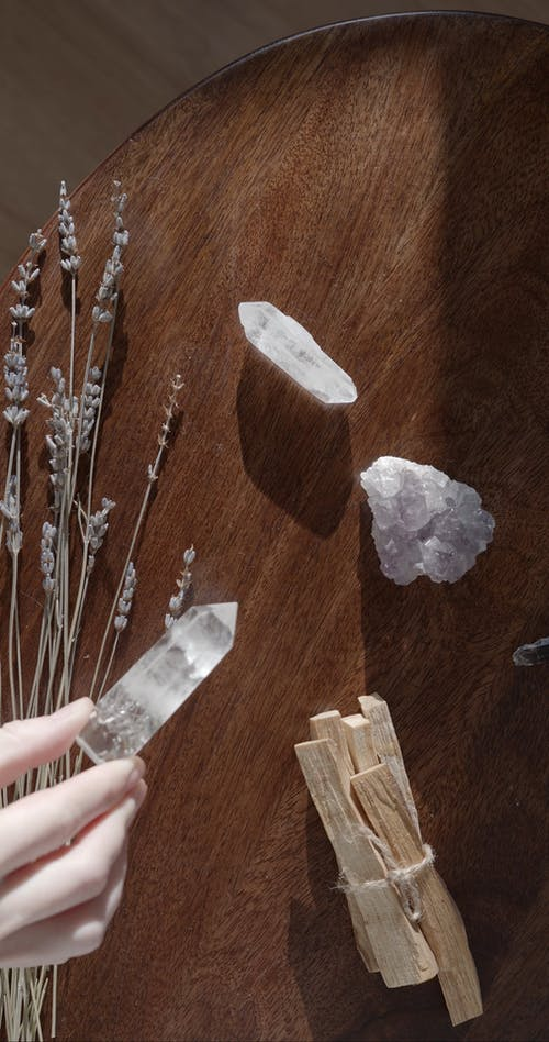 Crystals on a Wooden Surface