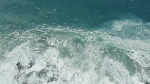 Drone Footage of Sea Waves Crashing on Seashore