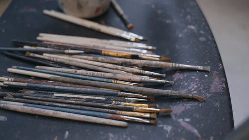 Assorted of Used Small Paint Brushes
