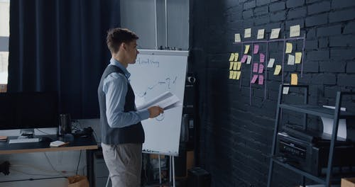 A Man Putting Sticky Notes on the Wall