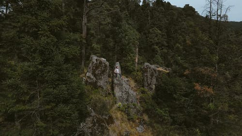 Drone View of a Man Sitting on a Rock