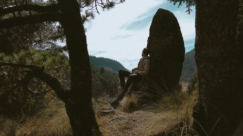 Man Sitting While Observe Mountain Forest