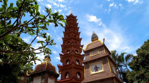 Low Angle Shot of a Buddhist Temple
