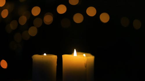 Burning Candles on a Blury Background