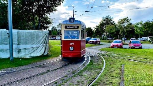 A Moving Tram Train in a City