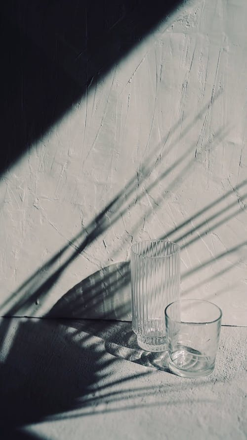 Glasses on the Floor and a Shadow of Palm Leaves