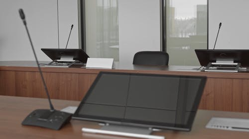 Monitors and Microphones in a Conference Room