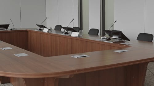 A Panning Shot of a Conference Room