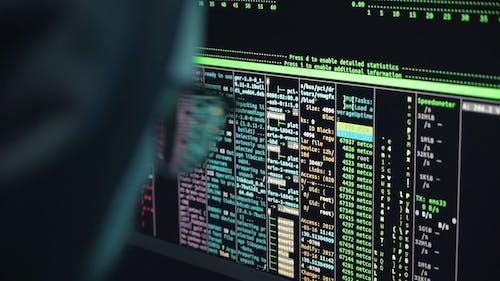 Hacker Entering Codes into the Computer