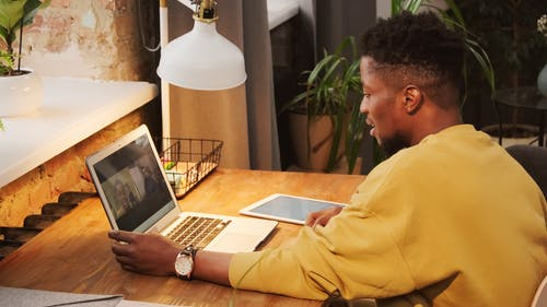 A Young Man n A Video Call
