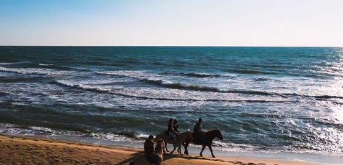 Video of People Riding Horses on a Beach