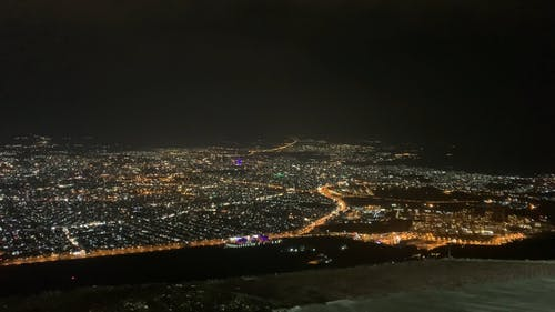 A View of the City From the Mountain at Night