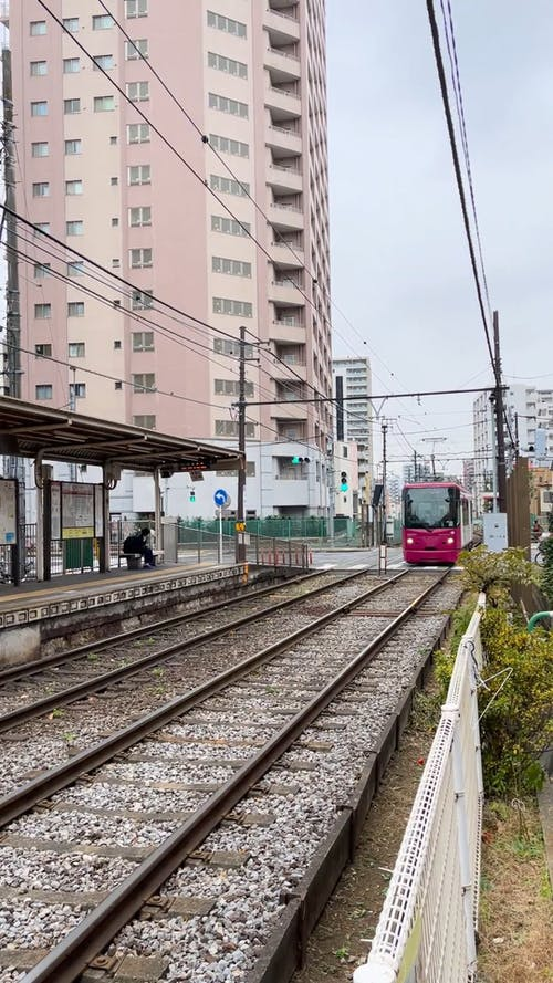 A Passing By Tram in Japan
