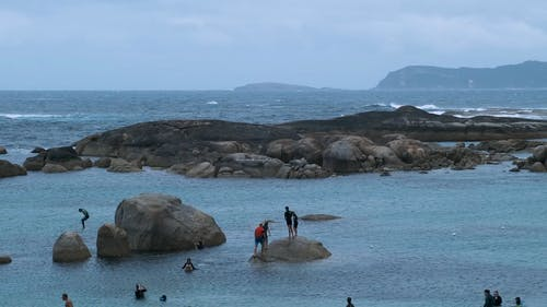 People Swimming in the Rocky Coast