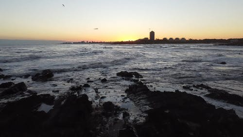 Drone Footage Sea Waves at Dawn