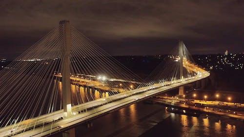 Drone Footage of a Suspension Bridge at Night