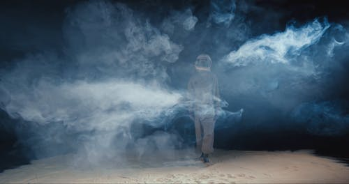 A Woman Walking In The Moon In A Conceptual Video