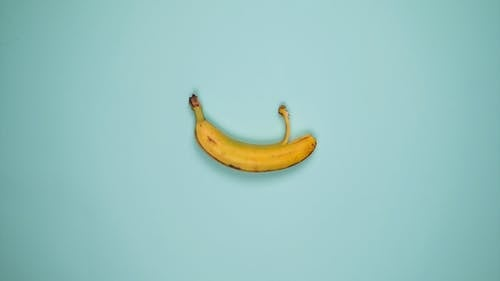 Stop Motion Video of a Banana on Teal Background