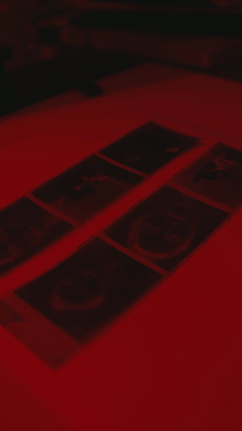Room With Red Light For Developing Photos