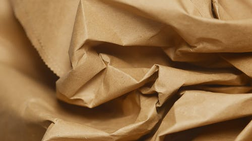 Close-up of a Crumpled Brown Paper Bag