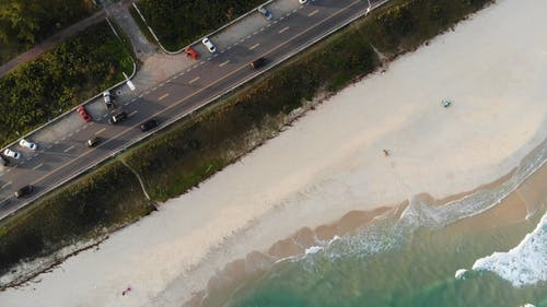 Drone Shot of Road Near Coastline
