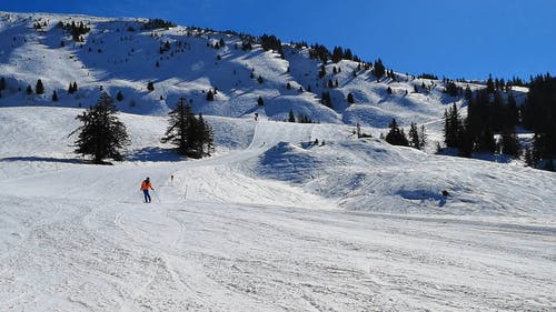 People Skiing at the Snow Covered Mountain