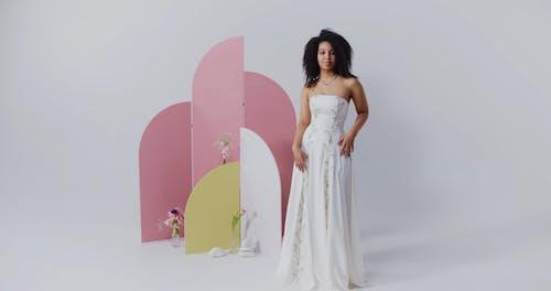 Woman Dancing In Wedding Dress