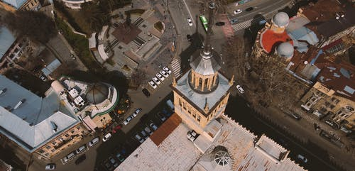 Drone Footage of a Tower in Town