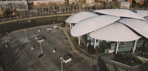 Drone Footage of a Modern Architectural Building
