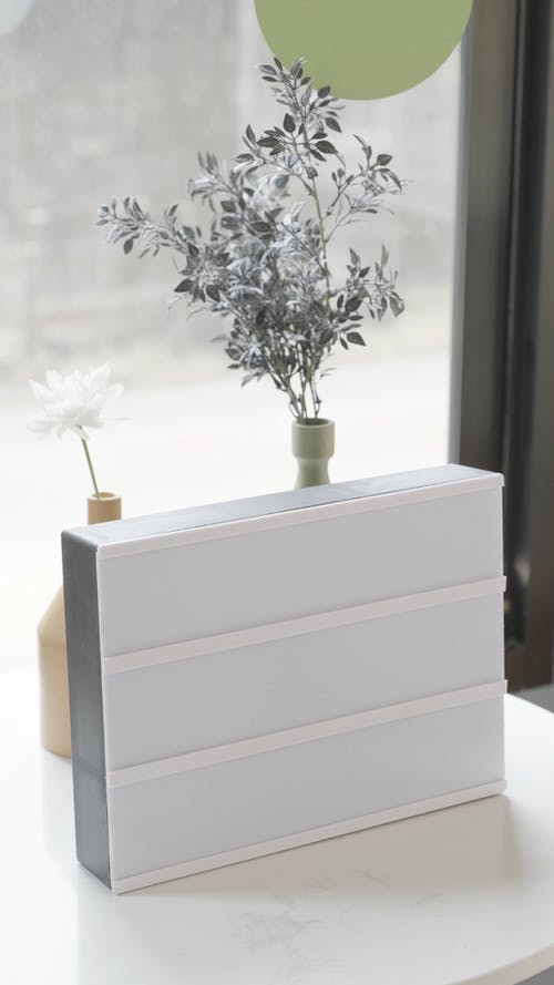 Light Box Placed In Front Of Flower Arrangements
