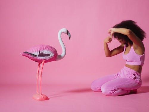 A Woman Recording A Plastic Flamingo Bird