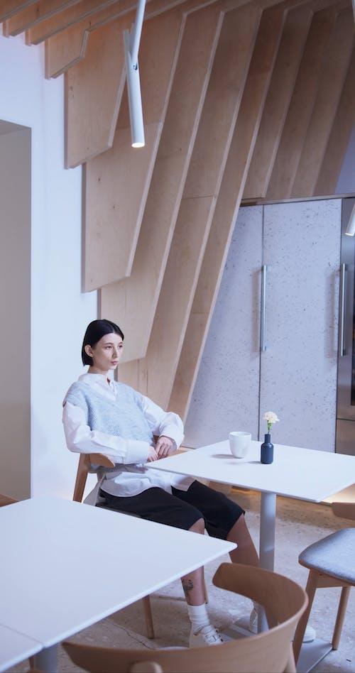 A Girl Inside A Coffee Shop