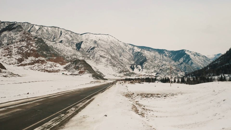 View Of The Road Beside The Mountains