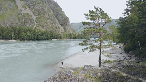 A Person Walking Near the Edge of a River