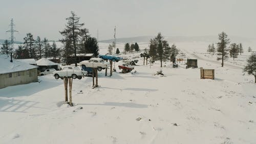 Aerial View of Winter Landscape while Cars Lifted