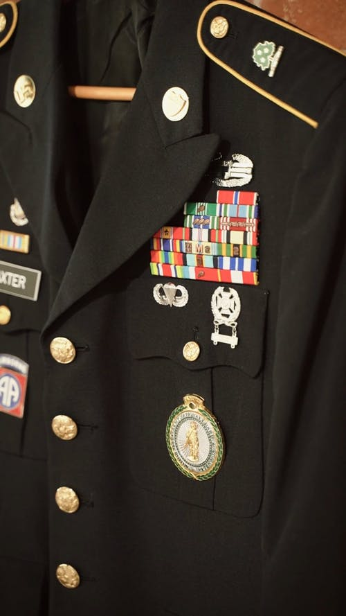 A Army Veteran Uniform with Badge