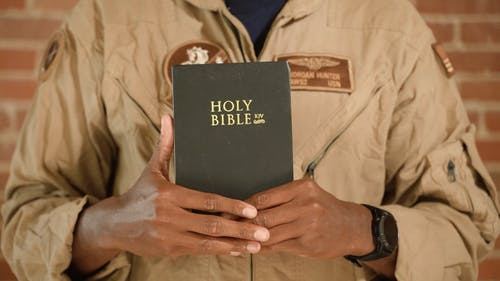 Video of Soldier Holding a Bible