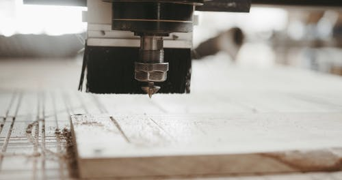 Close Up Shot of a Wood Carving Machine