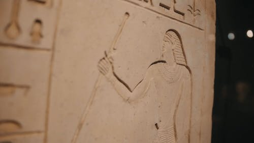 Close-Up Video of a Stone Tablet with Hieroglyphic