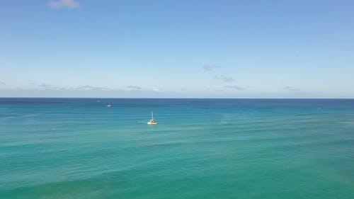 Aerial Footage of a Boat on the Ocean