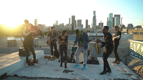A Band Playing on a Rooftop