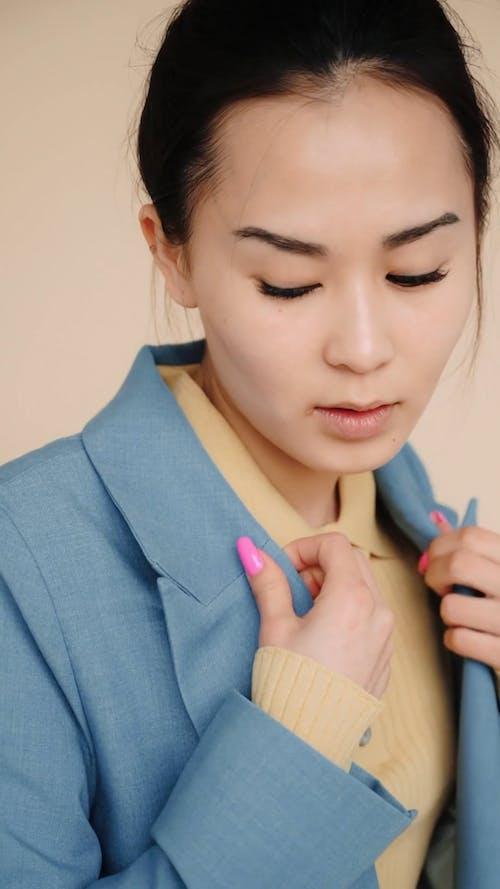 Female Model Wearing a Suit