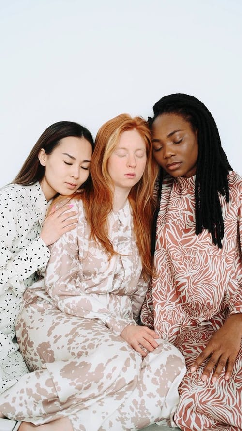 Models Posing With Closed Eyes