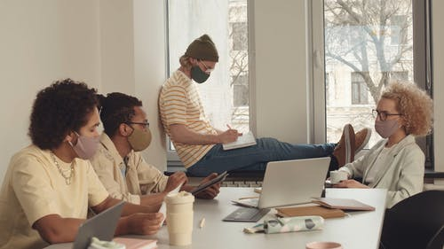 People in an Office Wearing Face Masks