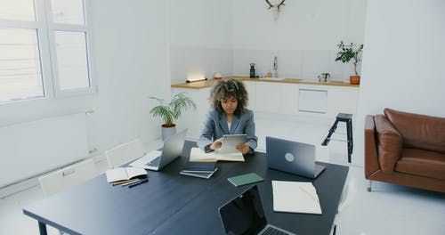 A Woman using a Tablet while Working