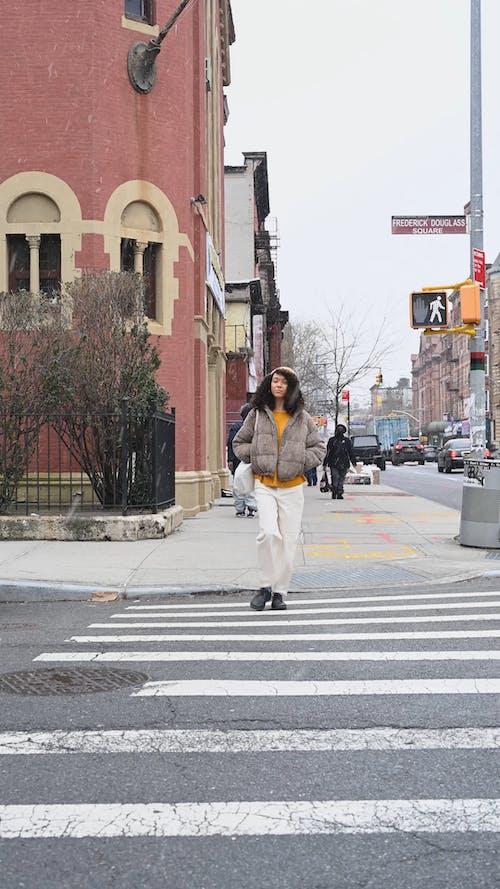 Woman Crossing the Pedestrian
