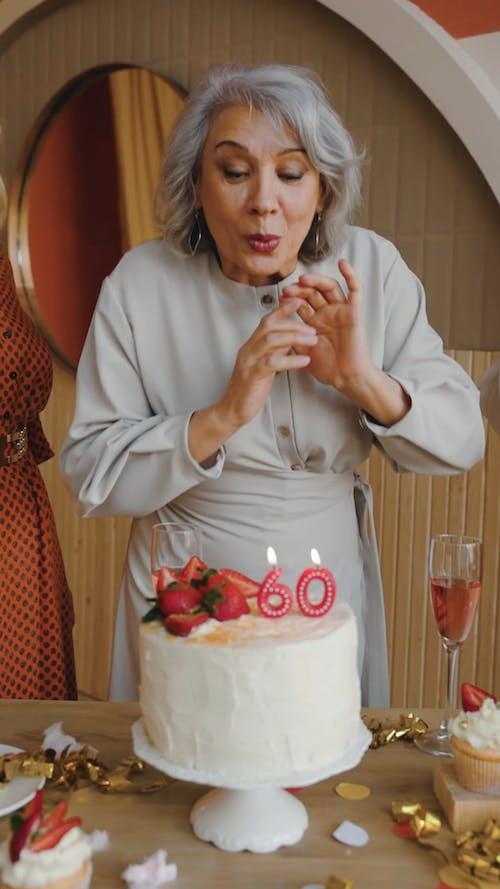 Woman Celebrating Birthday with Friends